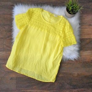 Lace and Linen Yellow J Crew Tee